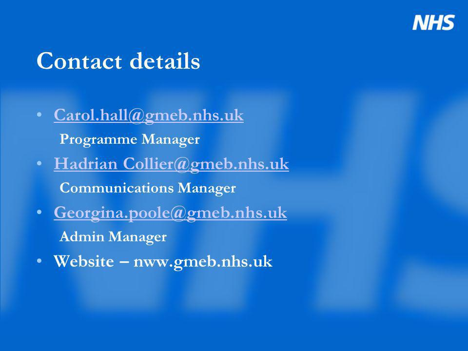 Contact details Carol.hall@gmeb.nhs.uk Programme Manager Hadrian Collier@gmeb.nhs.uk Communications Manager Georgina.poole@gmeb.nhs.uk Admin Manager Website – nww.gmeb.nhs.uk