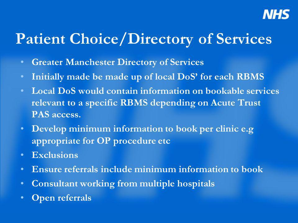 Patient Choice/Directory of Services Greater Manchester Directory of Services Initially made be made up of local DoS for each RBMS Local DoS would con