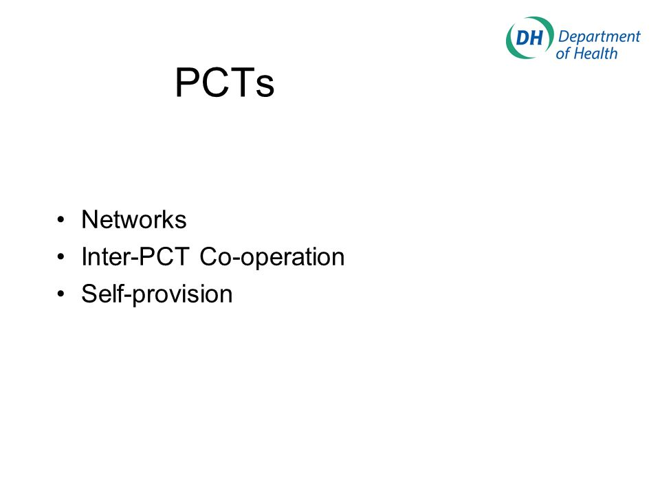 PCTs Networks Inter-PCT Co-operation Self-provision