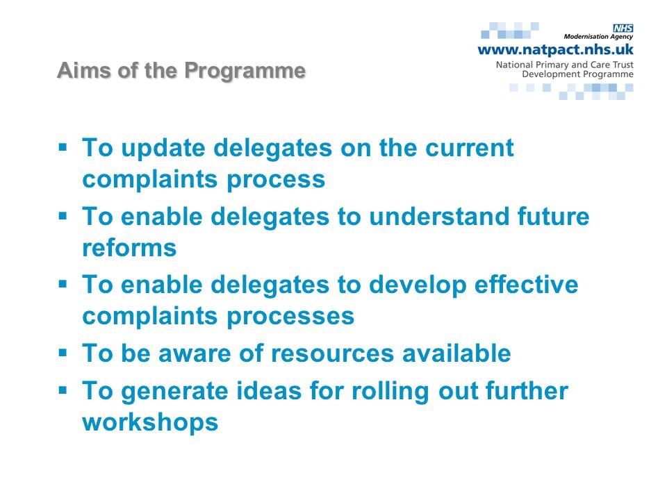 Implementing the NHS Complaints Reform A pilot programme for PCTs Dr John Hasler & Dr Jenny King