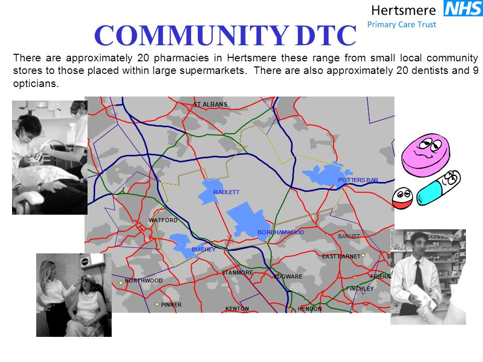 There are approximately 20 pharmacies in Hertsmere these range from small local community stores to those placed within large supermarkets. There are