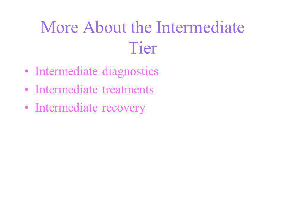 More About the Intermediate Tier Intermediate diagnostics Intermediate treatments Intermediate recovery