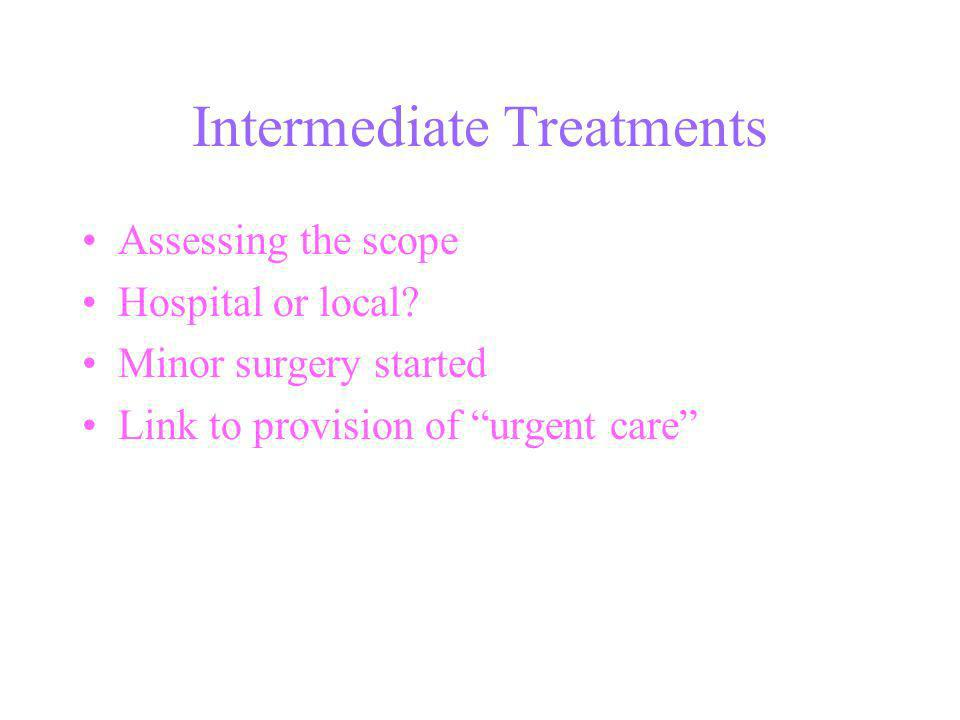 Intermediate Treatments Assessing the scope Hospital or local.