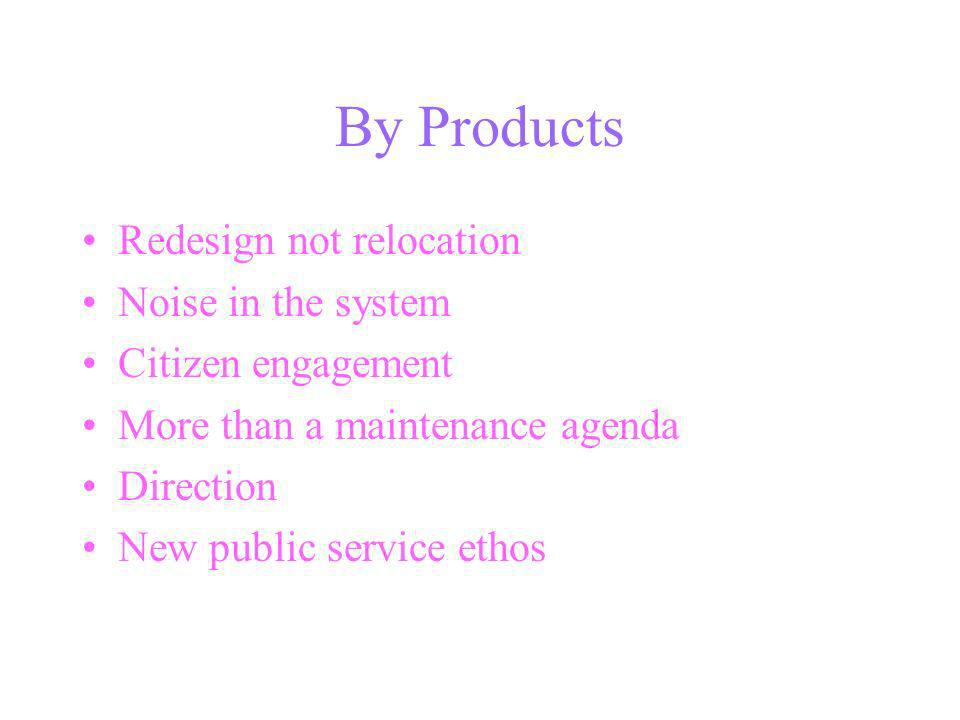 By Products Redesign not relocation Noise in the system Citizen engagement More than a maintenance agenda Direction New public service ethos