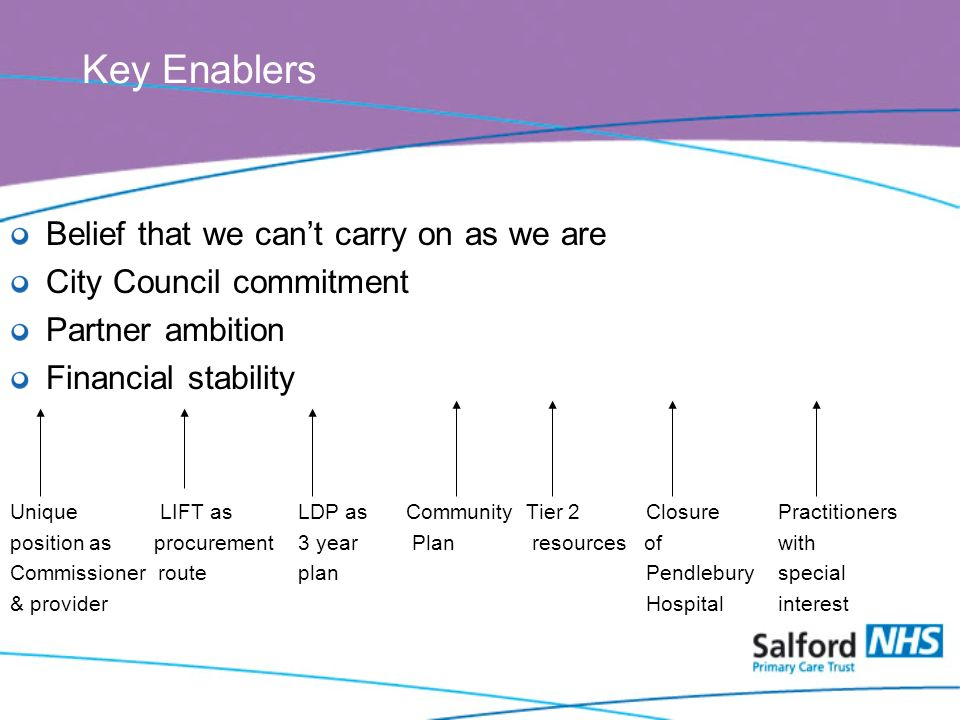 Key Enablers Belief that we cant carry on as we are City Council commitment Partner ambition Financial stability Unique LIFT asLDP as Community Tier 2 ClosurePractitioners position as procurement3 year Plan resources ofwith Commissioner routeplan Pendleburyspecial & provider Hospitalinterest