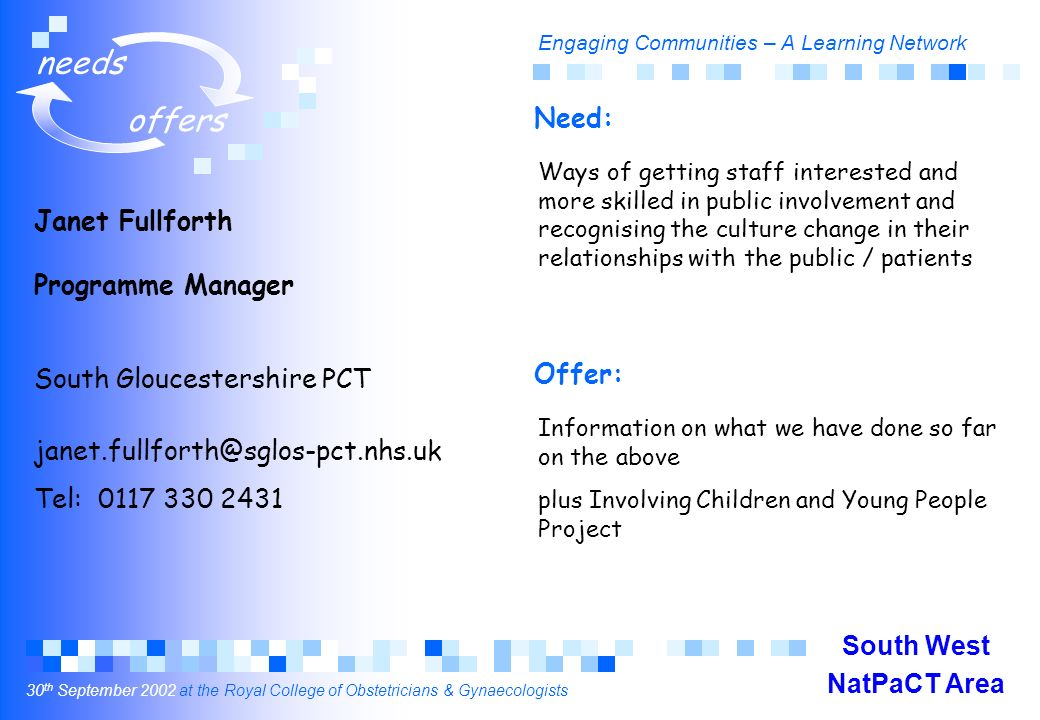 Engaging Communities – A Learning Network 30 th September 2002 at the Royal College of Obstetricians & Gynaecologists needs offers Janet Fullforth Programme Manager South Gloucestershire PCT janet.fullforth@sglos-pct.nhs.uk Tel: 0117 330 2431 Ways of getting staff interested and more skilled in public involvement and recognising the culture change in their relationships with the public / patients Information on what we have done so far on the above plus Involving Children and Young People Project Need: Offer: South West NatPaCT Area