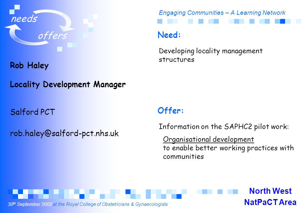 Engaging Communities – A Learning Network 30 th September 2002 at the Royal College of Obstetricians & Gynaecologists needs offers Rob Haley Locality Development Manager Salford PCT rob.haley@salford-pct.nhs.uk Developing locality management structures Information on the SAPHC2 pilot work: Organisational development to enable better working practices with communities Need: Offer: North West NatPaCT Area