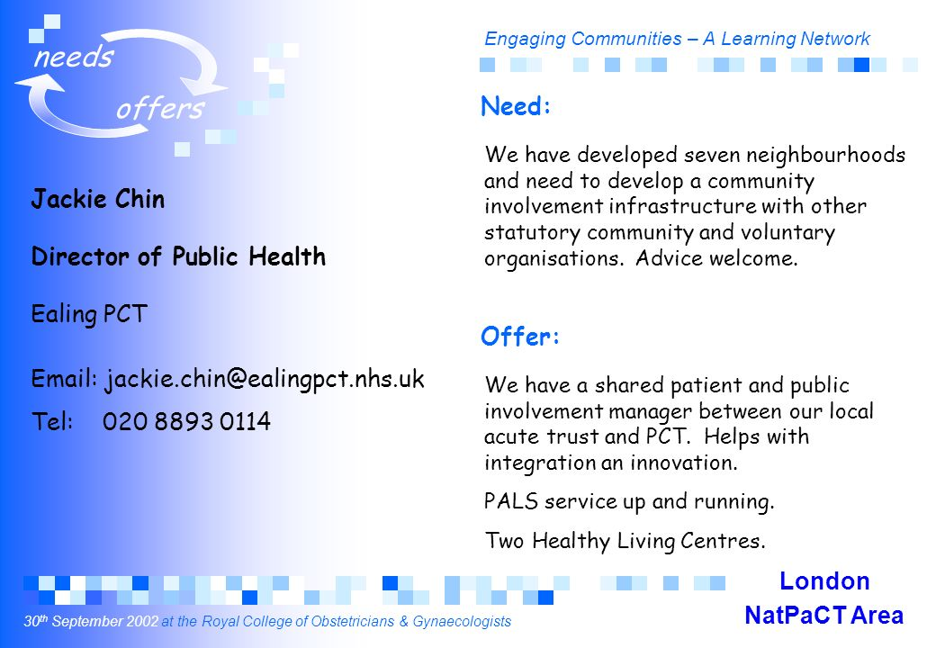 Engaging Communities – A Learning Network 30 th September 2002 at the Royal College of Obstetricians & Gynaecologists needs offers Jackie Chin Director of Public Health Ealing PCT Email: jackie.chin@ealingpct.nhs.uk Tel: 020 8893 0114 We have developed seven neighbourhoods and need to develop a community involvement infrastructure with other statutory community and voluntary organisations.