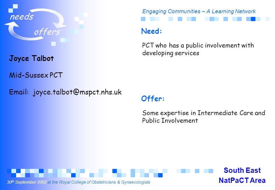 Engaging Communities – A Learning Network 30 th September 2002 at the Royal College of Obstetricians & Gynaecologists needs offers Joyce Talbot Mid-Sussex PCT Email: joyce.talbot@mspct.nhs.uk PCT who has a public involvement with developing services Some expertise in Intermediate Care and Public Involvement Need: Offer: South East NatPaCT Area
