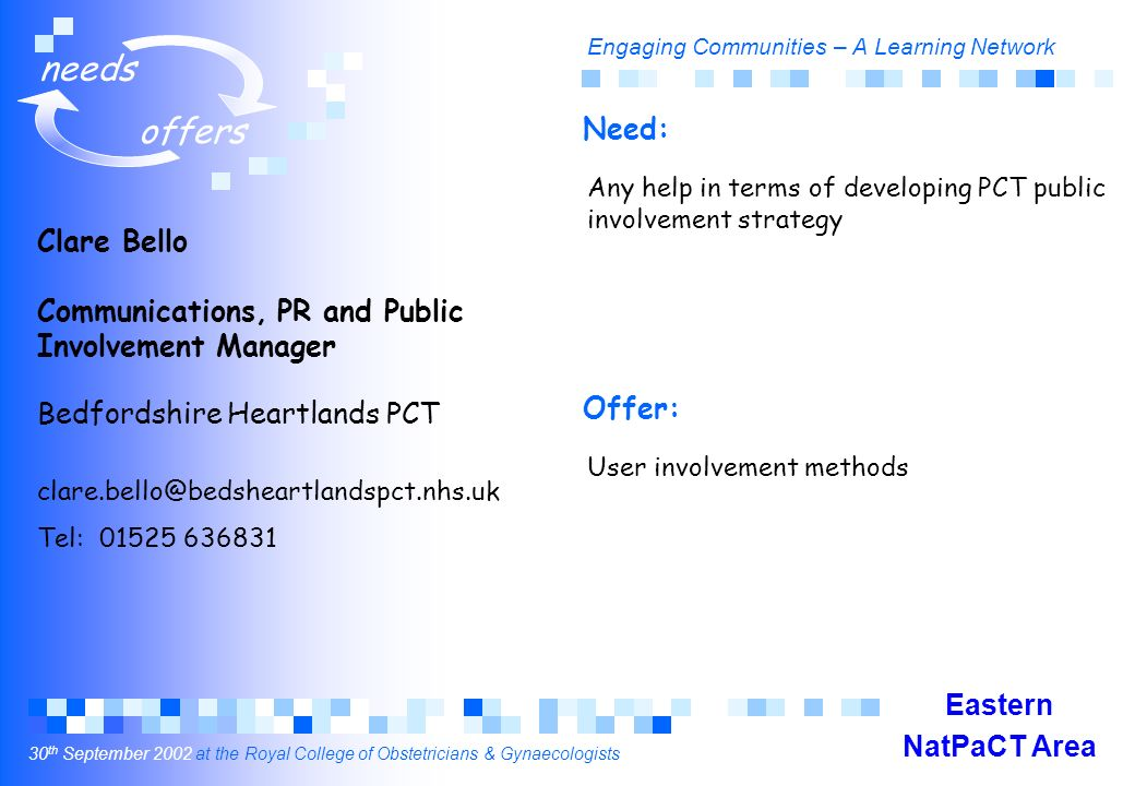Engaging Communities – A Learning Network 30 th September 2002 at the Royal College of Obstetricians & Gynaecologists needs offers Clare Bello Communications, PR and Public Involvement Manager Bedfordshire Heartlands PCT clare.bello@bedsheartlandspct.nhs.uk Tel: 01525 636831 Any help in terms of developing PCT public involvement strategy User involvement methods Need: Offer: Eastern NatPaCT Area