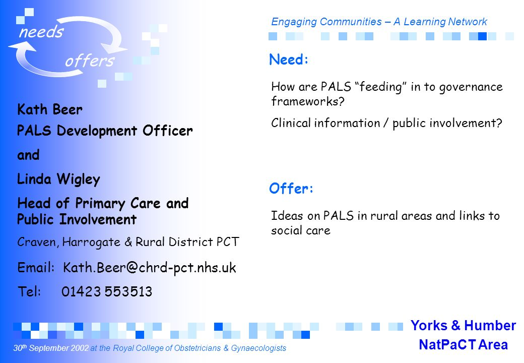 Engaging Communities – A Learning Network 30 th September 2002 at the Royal College of Obstetricians & Gynaecologists needs offers Kath Beer PALS Development Officer and Linda Wigley Head of Primary Care and Public Involvement Craven, Harrogate & Rural District PCT Email: Kath.Beer@chrd-pct.nhs.uk Tel: 01423 553513 How are PALS feeding in to governance frameworks.
