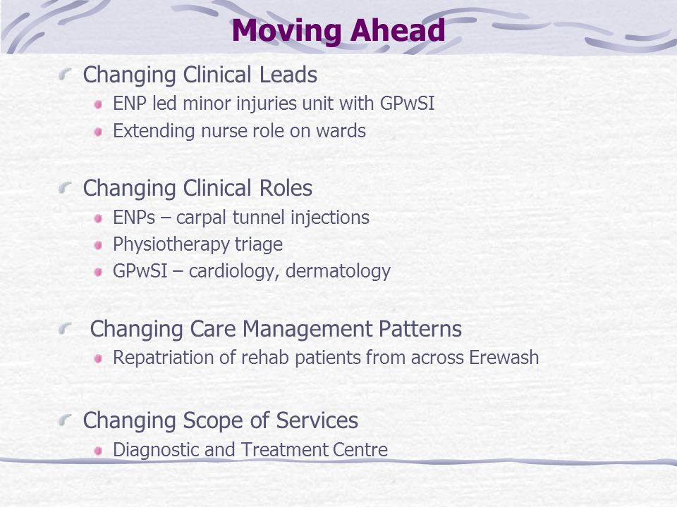 Moving Ahead Changing Clinical Leads ENP led minor injuries unit with GPwSI Extending nurse role on wards Changing Clinical Roles ENPs – carpal tunnel injections Physiotherapy triage GPwSI – cardiology, dermatology Changing Care Management Patterns Repatriation of rehab patients from across Erewash Changing Scope of Services Diagnostic and Treatment Centre