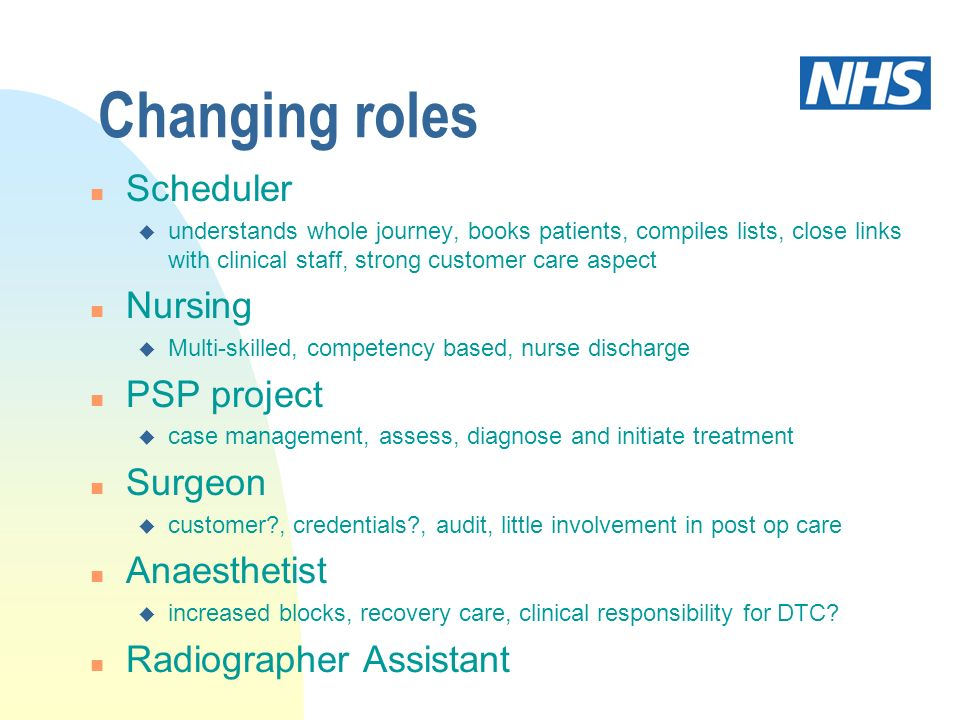 Changing roles n Scheduler u understands whole journey, books patients, compiles lists, close links with clinical staff, strong customer care aspect n