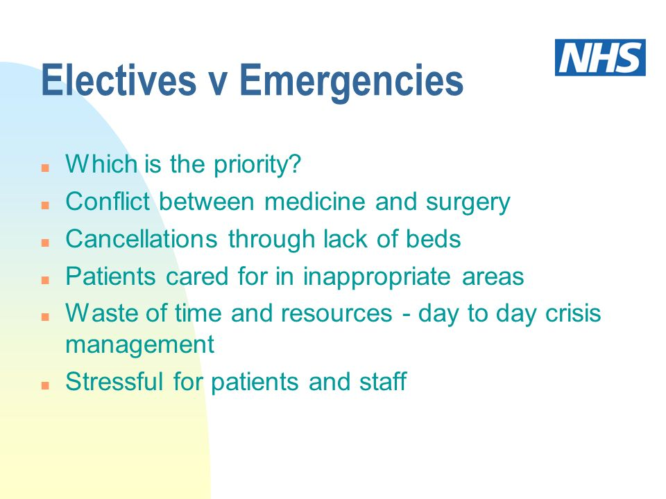 Electives v Emergencies n Which is the priority? n Conflict between medicine and surgery n Cancellations through lack of beds n Patients cared for in