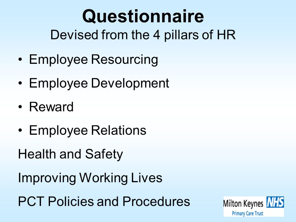 Questionnaire Devised from the 4 pillars of HR Employee Resourcing Employee Development Reward Employee Relations Health and Safety Improving Working
