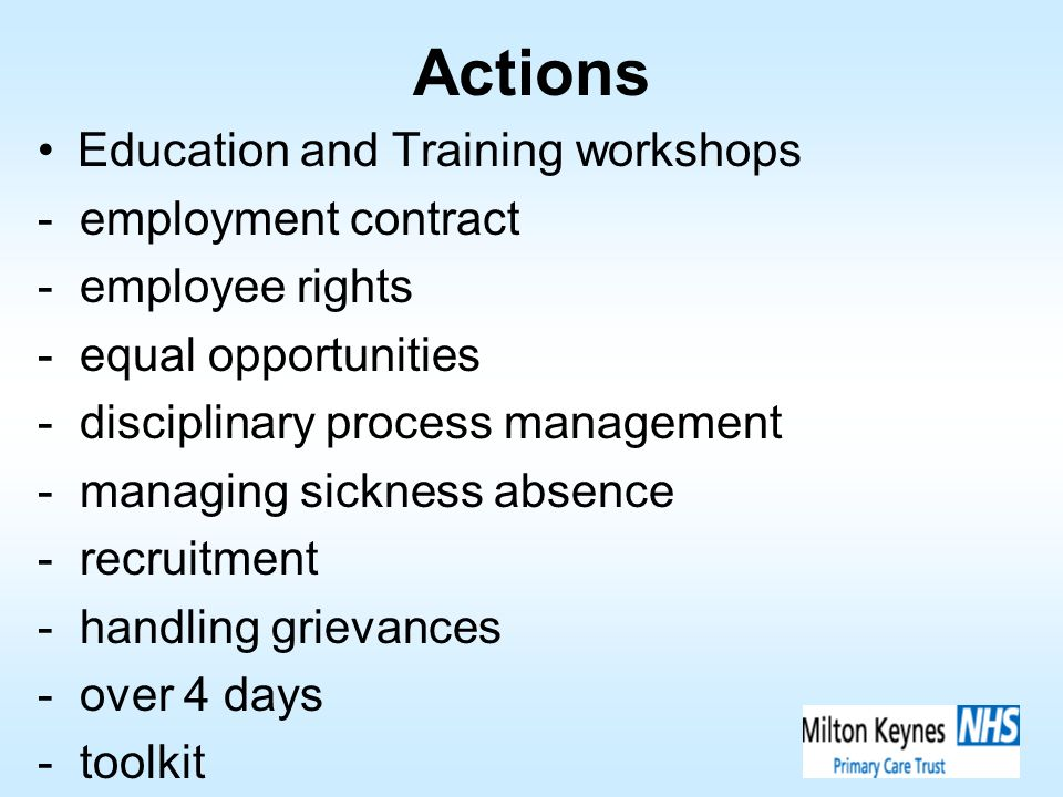 Actions Education and Training workshops - employment contract - employee rights - equal opportunities - disciplinary process management - managing si