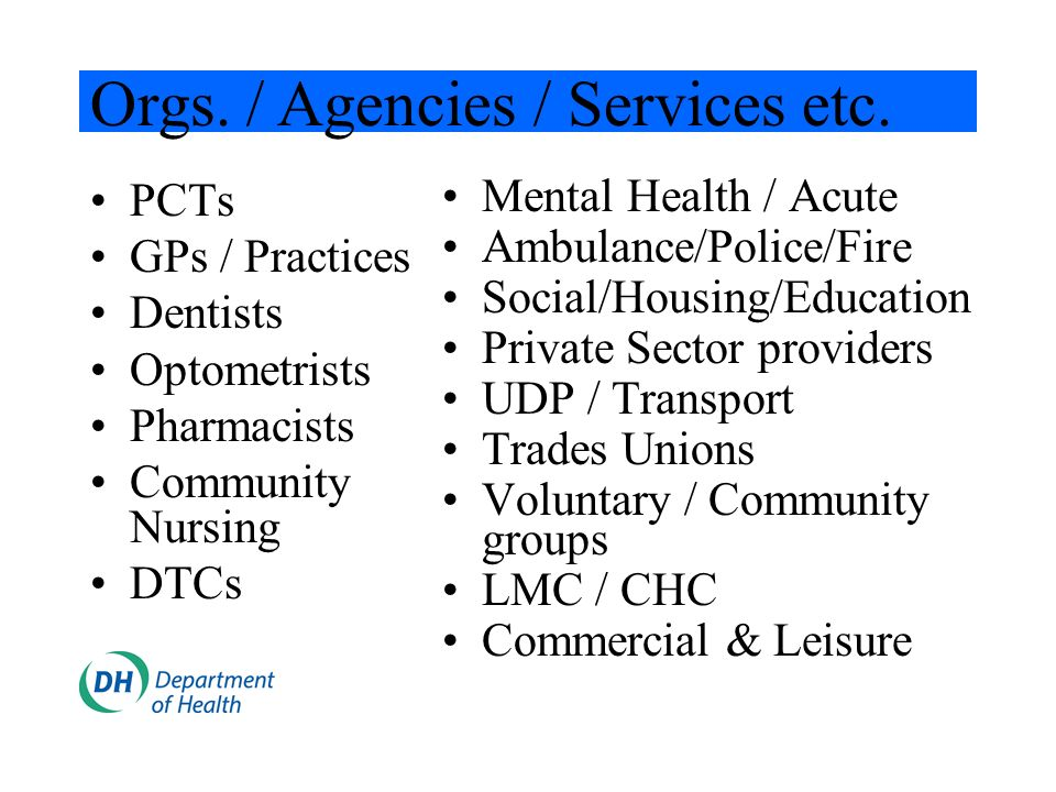 Orgs. / Agencies / Services etc. PCTs GPs / Practices Dentists Optometrists Pharmacists Community Nursing DTCs Mental Health / Acute Ambulance/Police/