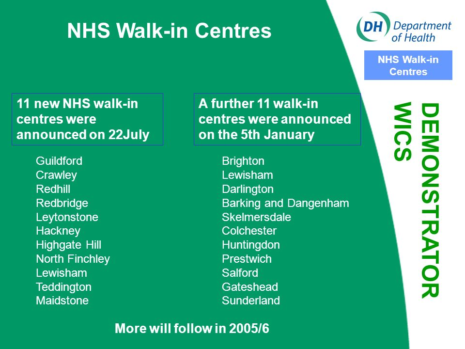 NHS Walk-in Centres New WiCs On 22 July 2003 Health Minister John Hutton announced a further £40m capital investment in new centres over three years to develop more WiCs - Potentially bigger role to play in reducing pressure on primary care services meeting the health needs of the local population Increased focus on their local contribution to national targets 24/48 hr Primary Care Access reducing 4 hour wait for treatment of minor injuries in A&E Provide patients with a choice of where they can access services - particularly for the working population DEMONSTRATOR WICS