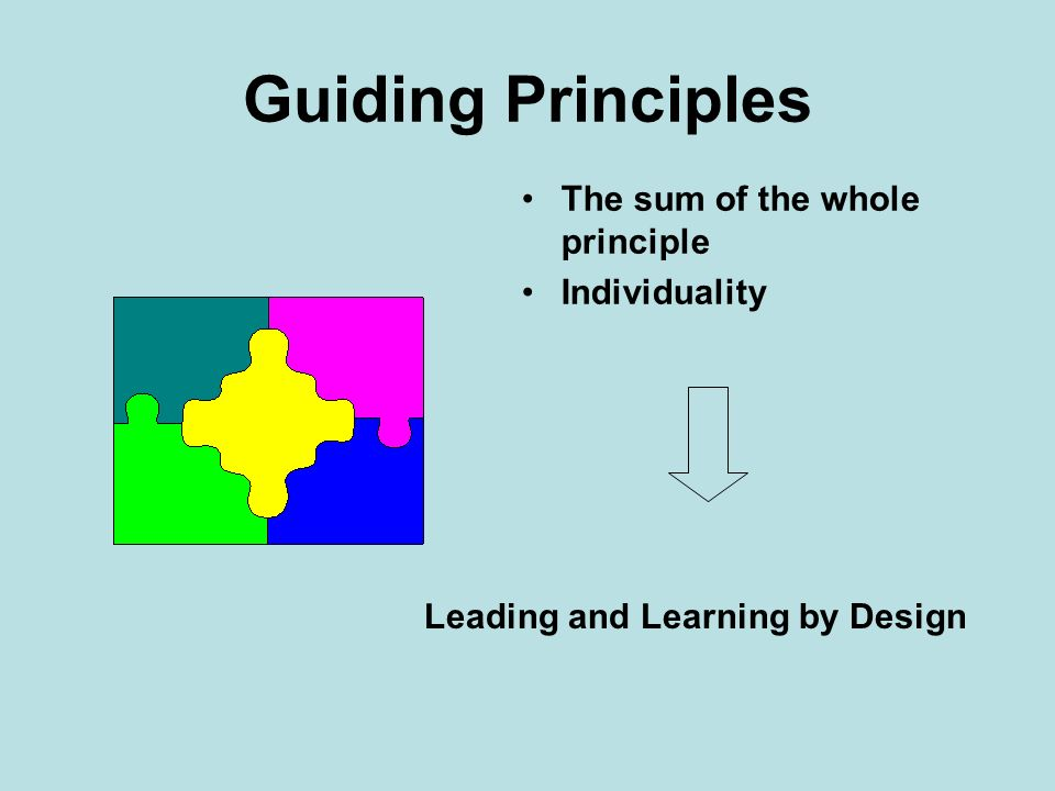 Guiding Principles The sum of the whole principle Individuality Leading and Learning by Design