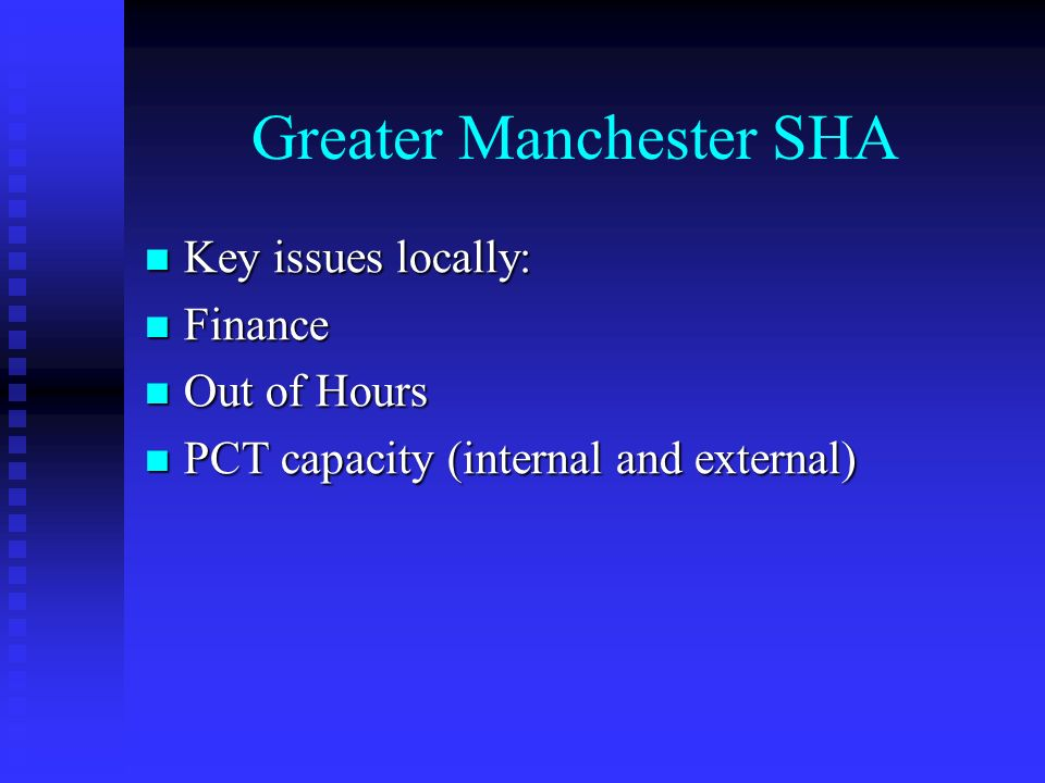 Greater Manchester SHA Key issues locally: Key issues locally: Finance Finance Out of Hours Out of Hours PCT capacity (internal and external) PCT capacity (internal and external)