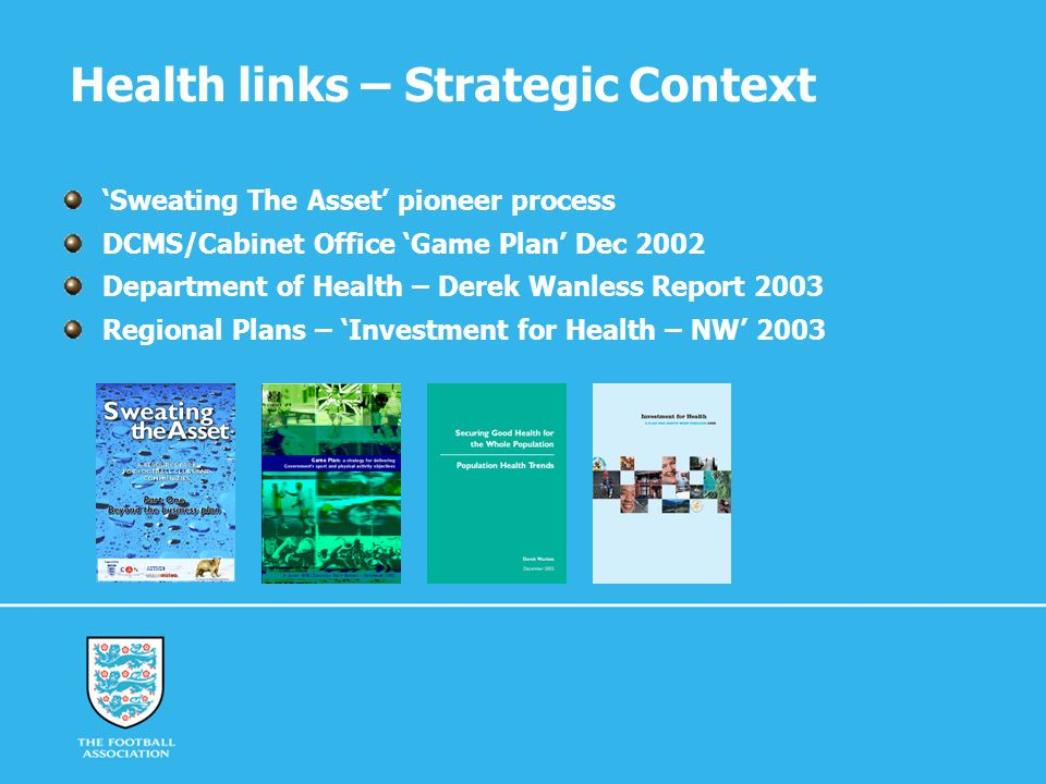 Health links – Strategic Context Sweating The Asset pioneer process DCMS/Cabinet Office Game Plan Dec 2002 Department of Health – Derek Wanless Report 2003 Regional Plans – Investment for Health – NW 2003