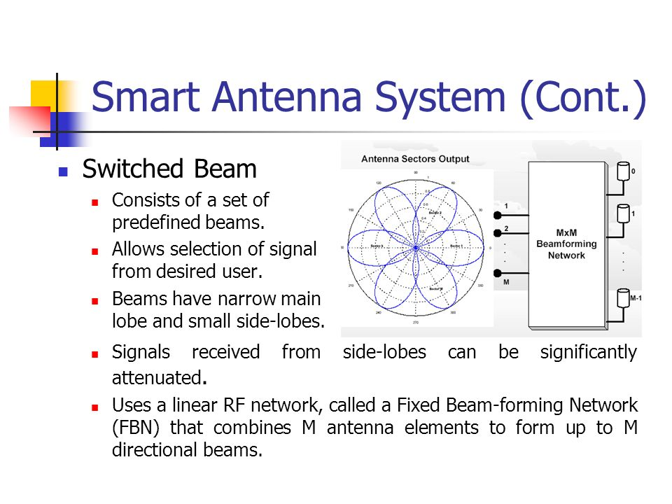 Smart Antenna System (Cont.) Switched Beam Consists of a set of predefined beams. Allows selection of signal from desired user. Beams have narrow main