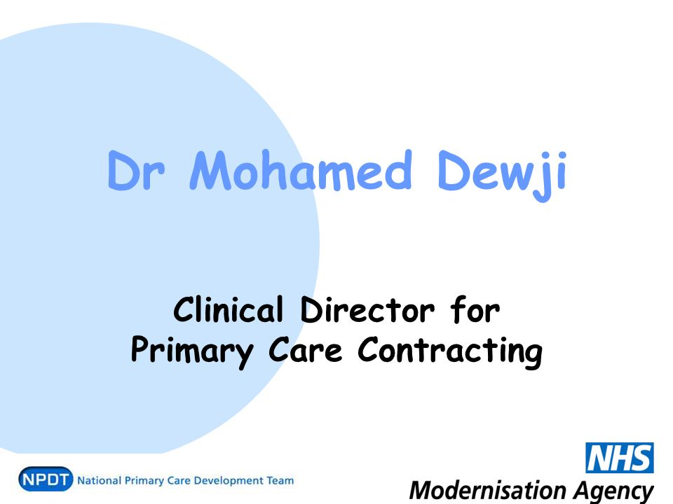Dr Mohamed Dewji Clinical Director for Primary Care Contracting