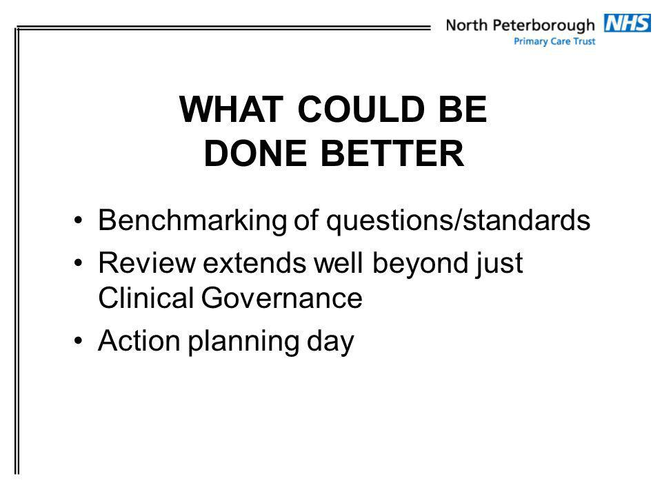 Benchmarking of questions/standards Review extends well beyond just Clinical Governance Action planning day WHAT COULD BE DONE BETTER