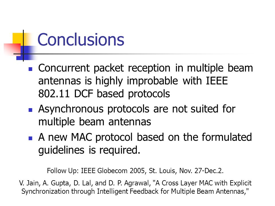 Conclusions Concurrent packet reception in multiple beam antennas is highly improbable with IEEE 802.11 DCF based protocols Asynchronous protocols are
