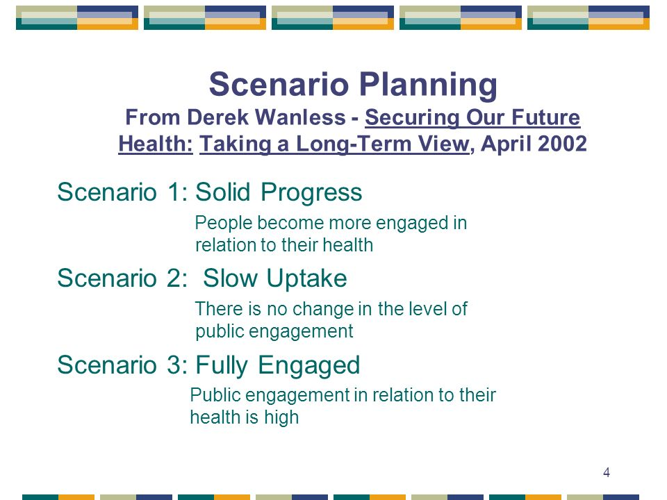4 Scenario Planning From Derek Wanless - Securing Our Future Health: Taking a Long-Term View, April 2002 Scenario 1: Solid Progress People become more engaged in relation to their health Scenario 2: Slow Uptake There is no change in the level of public engagement Scenario 3: Fully Engaged Public engagement in relation to their health is high