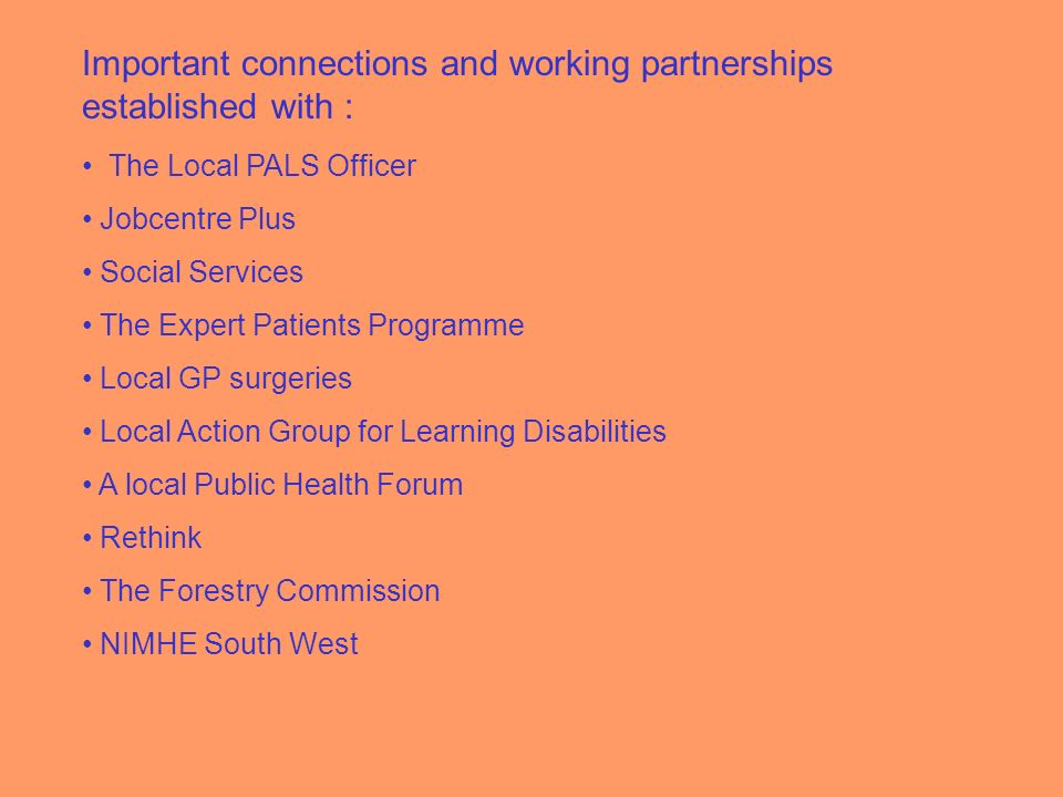 Important connections and working partnerships established with : The Local PALS Officer Jobcentre Plus Social Services The Expert Patients Programme