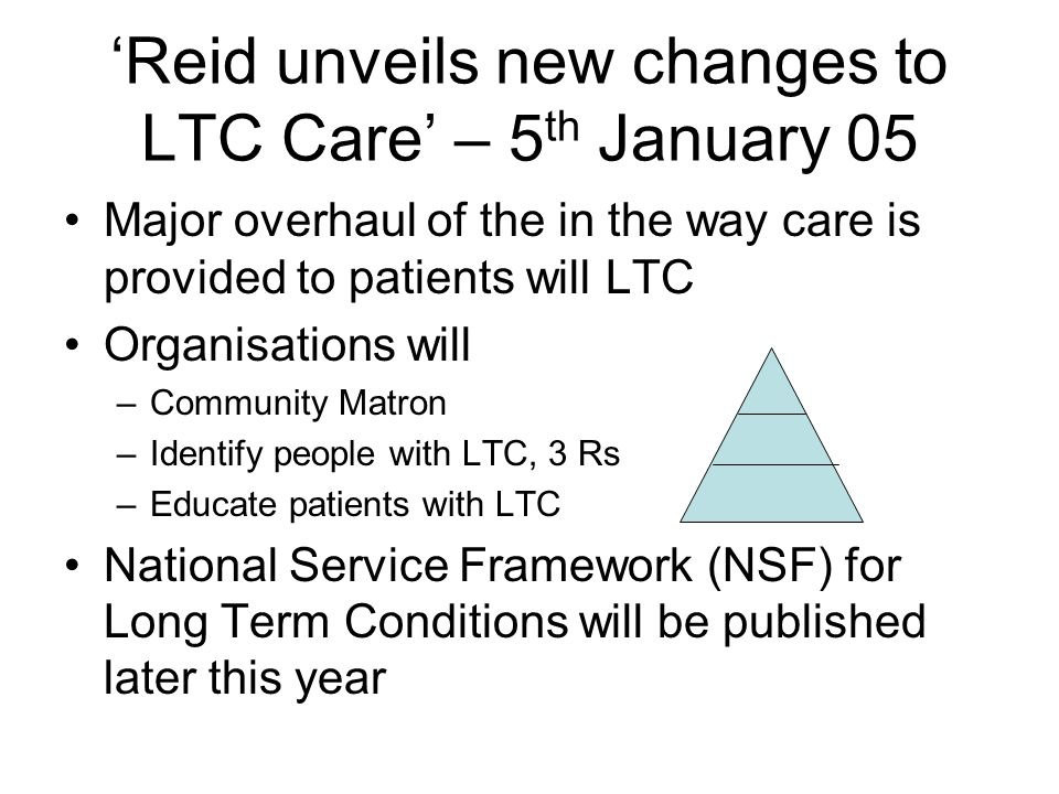 Reid unveils new changes to LTC Care – 5 th January 05 Major overhaul of the in the way care is provided to patients will LTC Organisations will –Comm