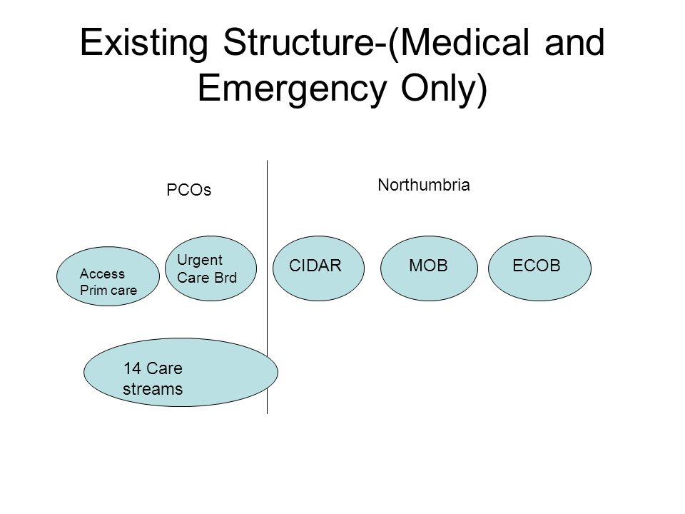 Existing Structure-(Medical and Emergency Only) MOBECOBCIDAR Urgent Care Brd PCOs Northumbria Access Prim care 14 Care streams