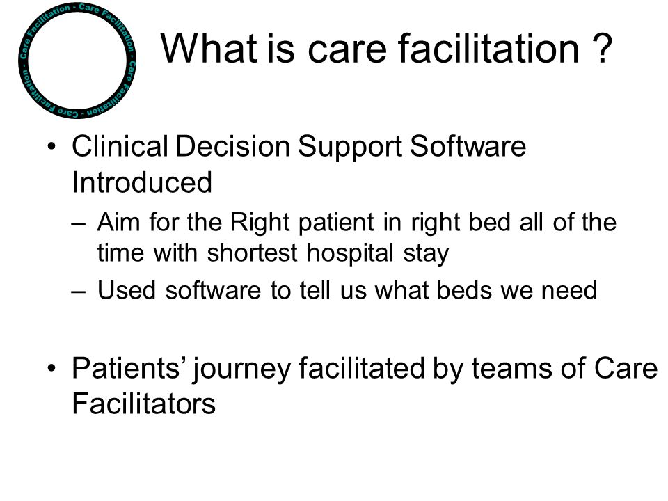 What is care facilitation ? Clinical Decision Support Software Introduced –Aim for the Right patient in right bed all of the time with shortest hospit
