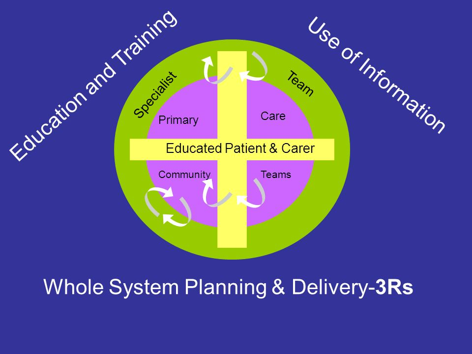 Educated Patient & Carer Primary Care Specialist Team Education and Training Use of Information CommunityTeams Whole System Planning & Delivery-3Rs