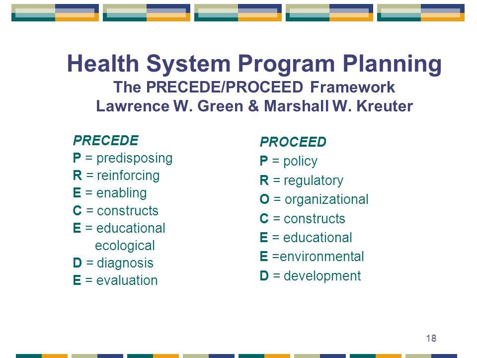 18 Health System Program Planning The PRECEDE/PROCEED Framework Lawrence W. Green & Marshall W. Kreuter PRECEDE P = predisposing R = reinforcing E = e