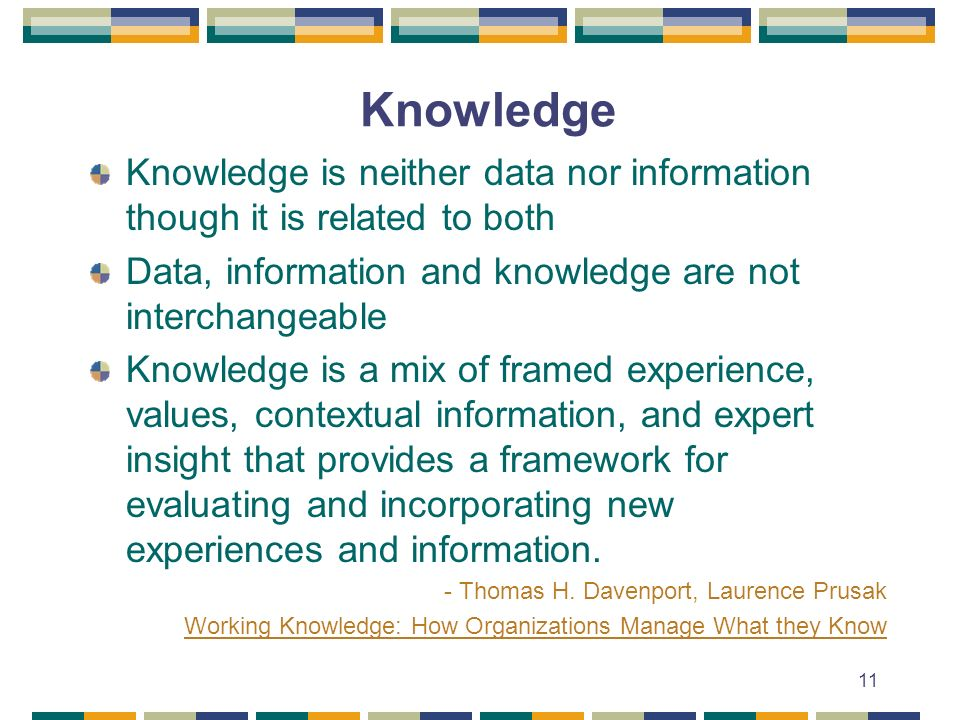 11 Knowledge Knowledge is neither data nor information though it is related to both Data, information and knowledge are not interchangeable Knowledge is a mix of framed experience, values, contextual information, and expert insight that provides a framework for evaluating and incorporating new experiences and information.