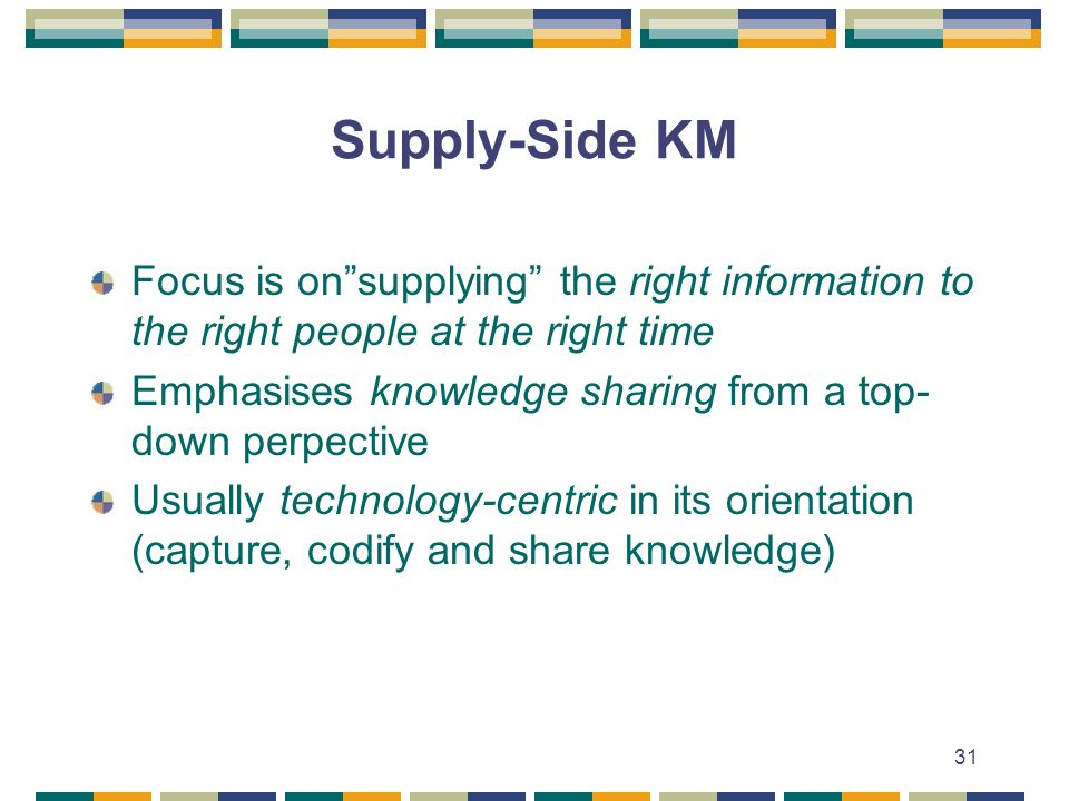 31 Supply-Side KM Focus is onsupplying the right information to the right people at the right time Emphasises knowledge sharing from a top- down perpective Usually technology-centric in its orientation (capture, codify and share knowledge)