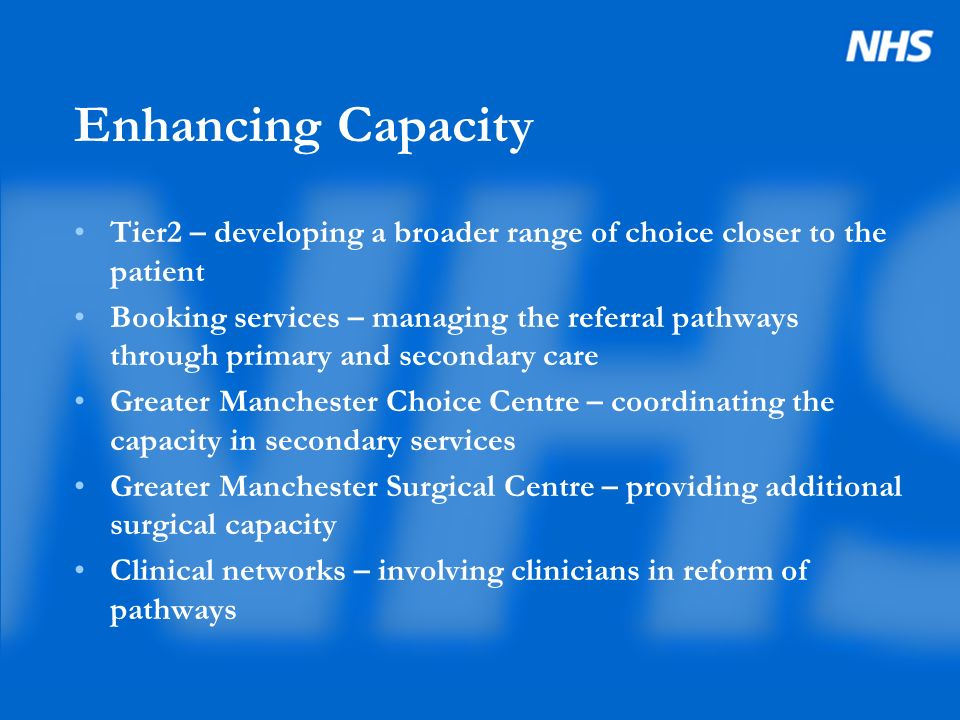 Enhancing Capacity Tier2 – developing a broader range of choice closer to the patient Booking services – managing the referral pathways through primary and secondary care Greater Manchester Choice Centre – coordinating the capacity in secondary services Greater Manchester Surgical Centre – providing additional surgical capacity Clinical networks – involving clinicians in reform of pathways