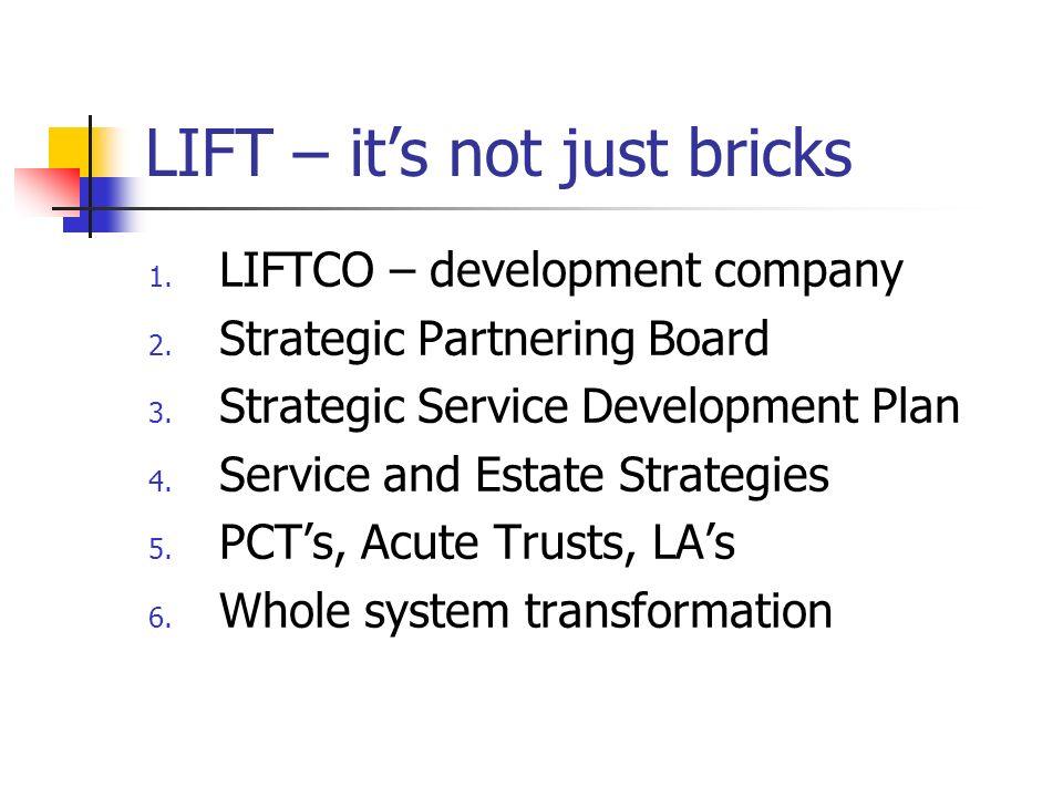 LIFT – its not just bricks 1. LIFTCO – development company 2. Strategic Partnering Board 3. Strategic Service Development Plan 4. Service and Estate S