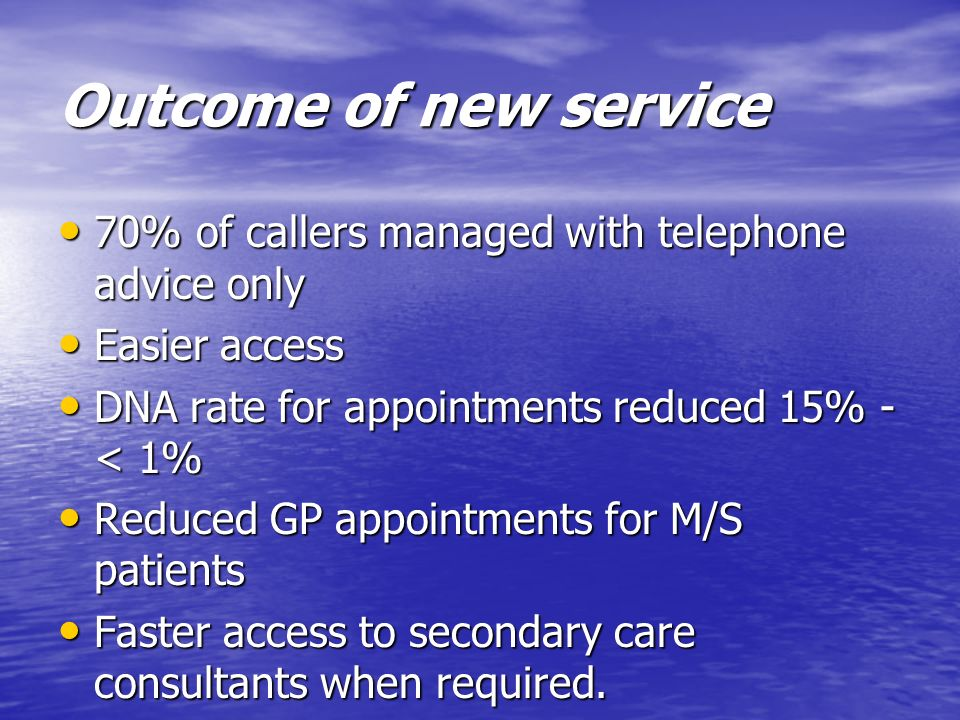Outcome of new service 70% of callers managed with telephone advice only 70% of callers managed with telephone advice only Easier access Easier access
