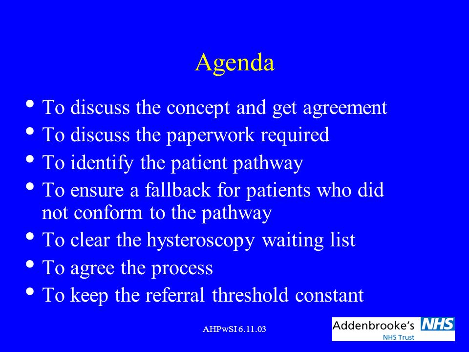 AHPwSI 6.11.03 Agenda To discuss the concept and get agreement To discuss the paperwork required To identify the patient pathway To ensure a fallback