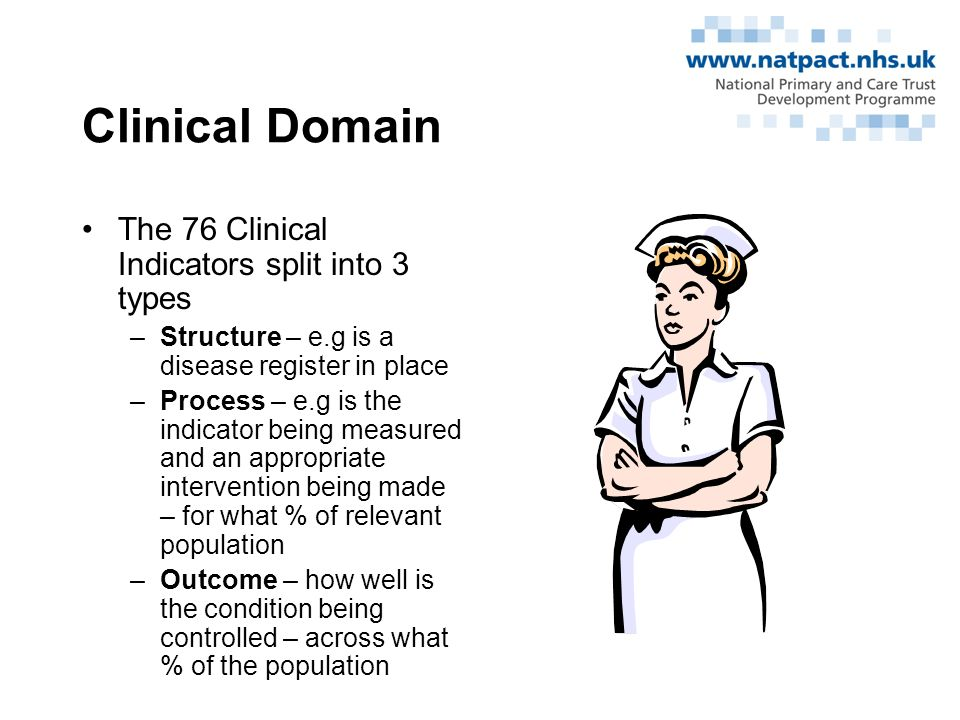 QOF Domains Clinical domain –10 disease areas –550 points Organisational domain –5 areas –184 points Additional Services domain –4 areas –36 points Patient Experience domain –2 areas –100 points Holistic Care, Quality Practice and Access Bonus Points –Total 180 points