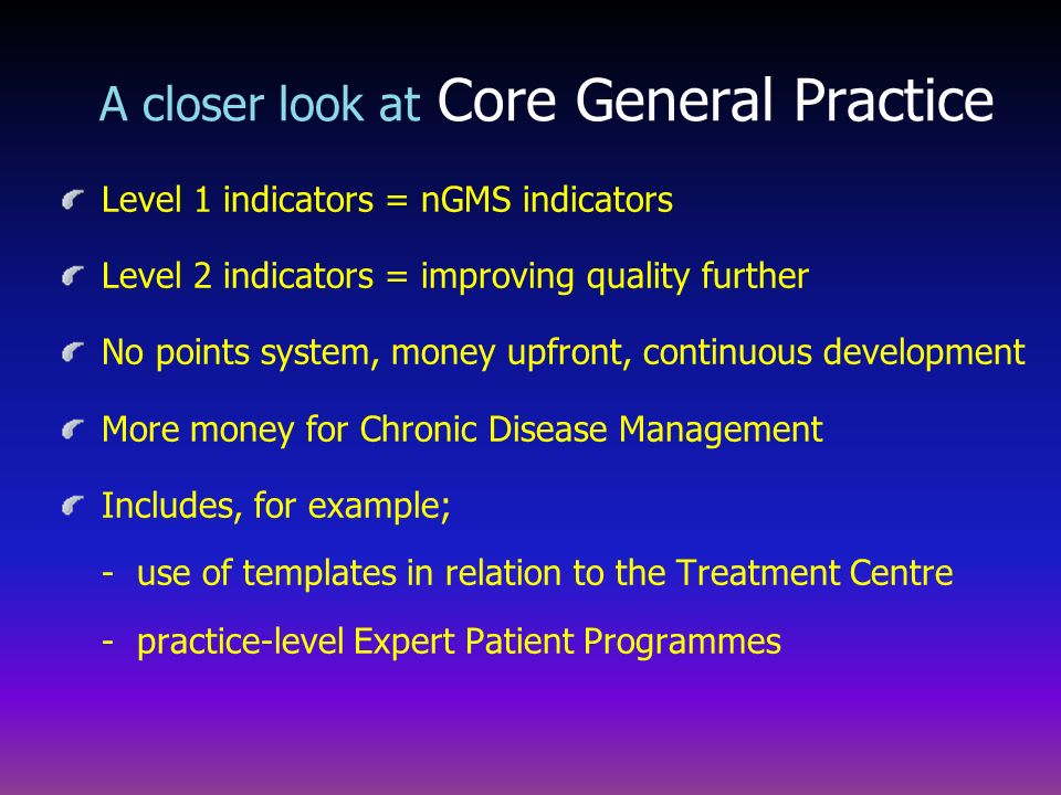 Level 1 indicators = nGMS indicators Level 2 indicators = improving quality further No points system, money upfront, continuous development More money