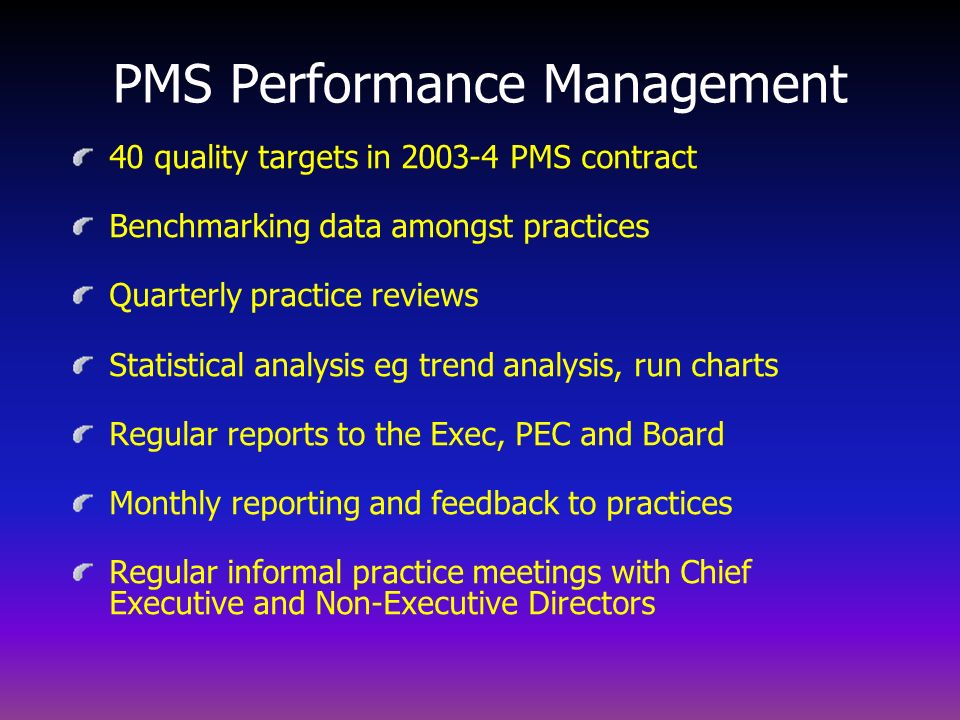 PMS in context with the Performance Improvement Model Unit of Delivery PLT/PBE Pursuing Perfection Collaboratives Education Information Support Advisory Groups Specialist Groups Practice Review Meetings Performance Packages PMS Incentive Scheme Perf.