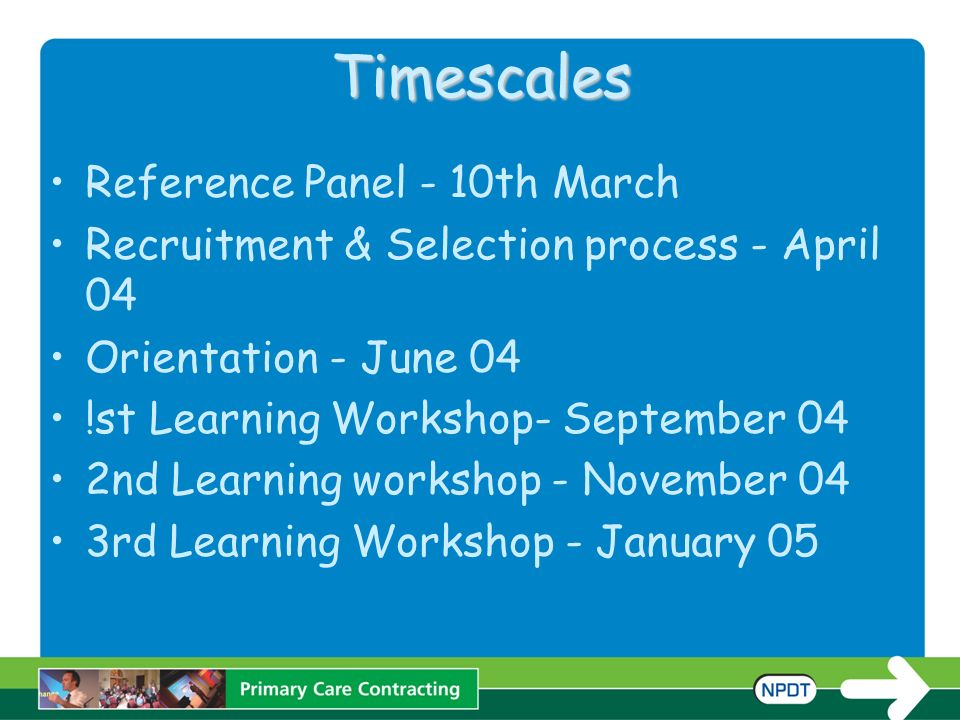 Timescales Reference Panel - 10th March Recruitment & Selection process - April 04 Orientation - June 04 !st Learning Workshop- September 04 2nd Learning workshop - November 04 3rd Learning Workshop - January 05