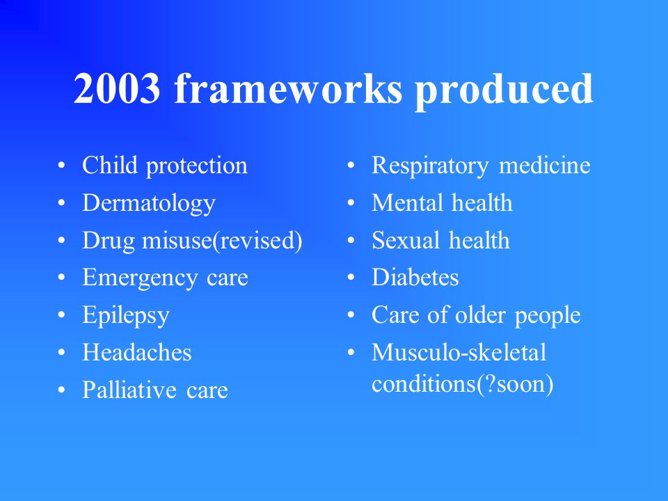 2003 frameworks produced Child protection Dermatology Drug misuse(revised) Emergency care Epilepsy Headaches Palliative care Respiratory medicine Ment