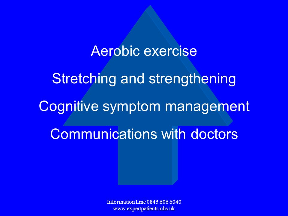 Information Line Aerobic exercise Stretching and strengthening Cognitive symptom management Communications with doctors