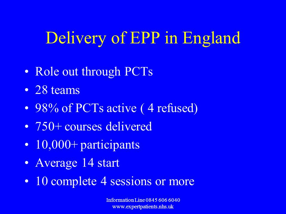 Information Line Delivery of EPP in England Role out through PCTs 28 teams 98% of PCTs active ( 4 refused) 750+ courses delivered 10,000+ participants Average 14 start 10 complete 4 sessions or more