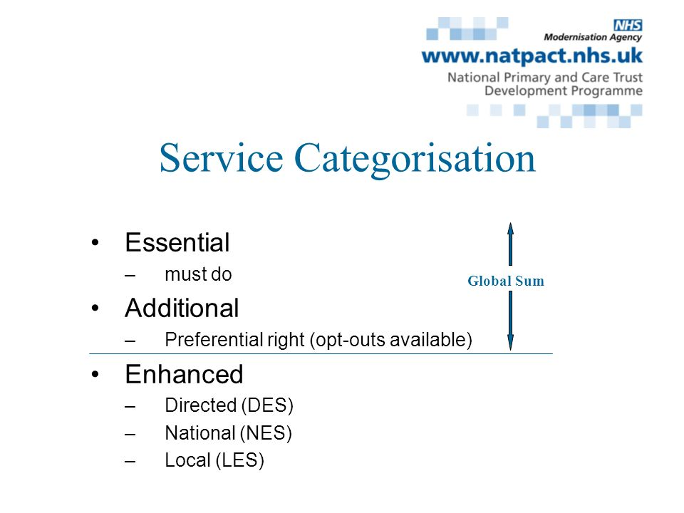Service Categorisation Essential –must do Additional –Preferential right (opt-outs available) Enhanced –Directed (DES) –National (NES) –Local (LES) Global Sum